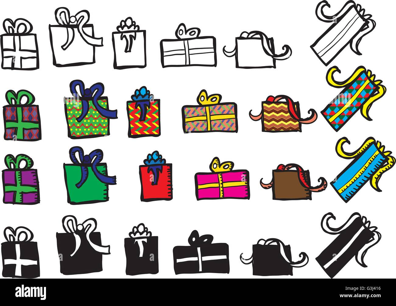 Present doodle sheet with outline, colored and silhouette layers - Stock Vector