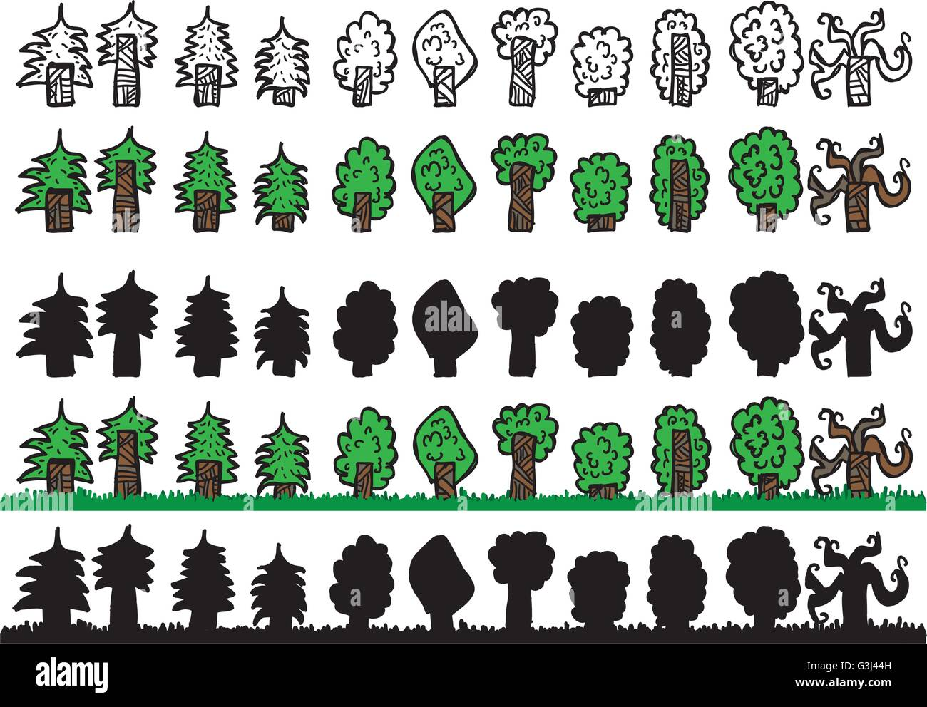 Trees doodle sheet with outline, colored, silhouette and two seamless layers - Stock Vector