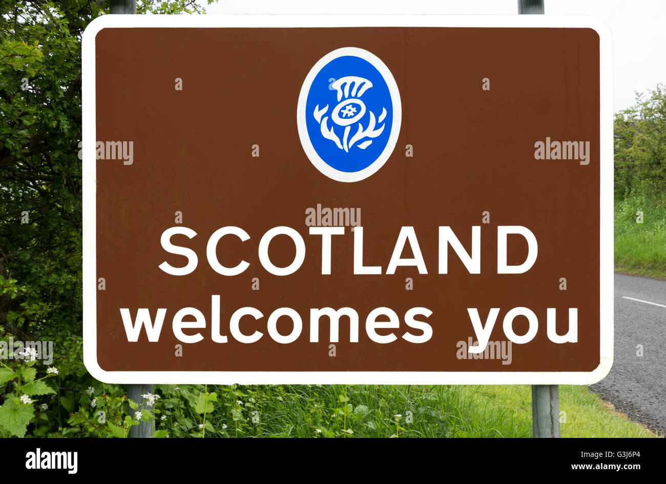 Welcome to Scotland road sign, Scottish Borders, Scotland, UK - Stock Image