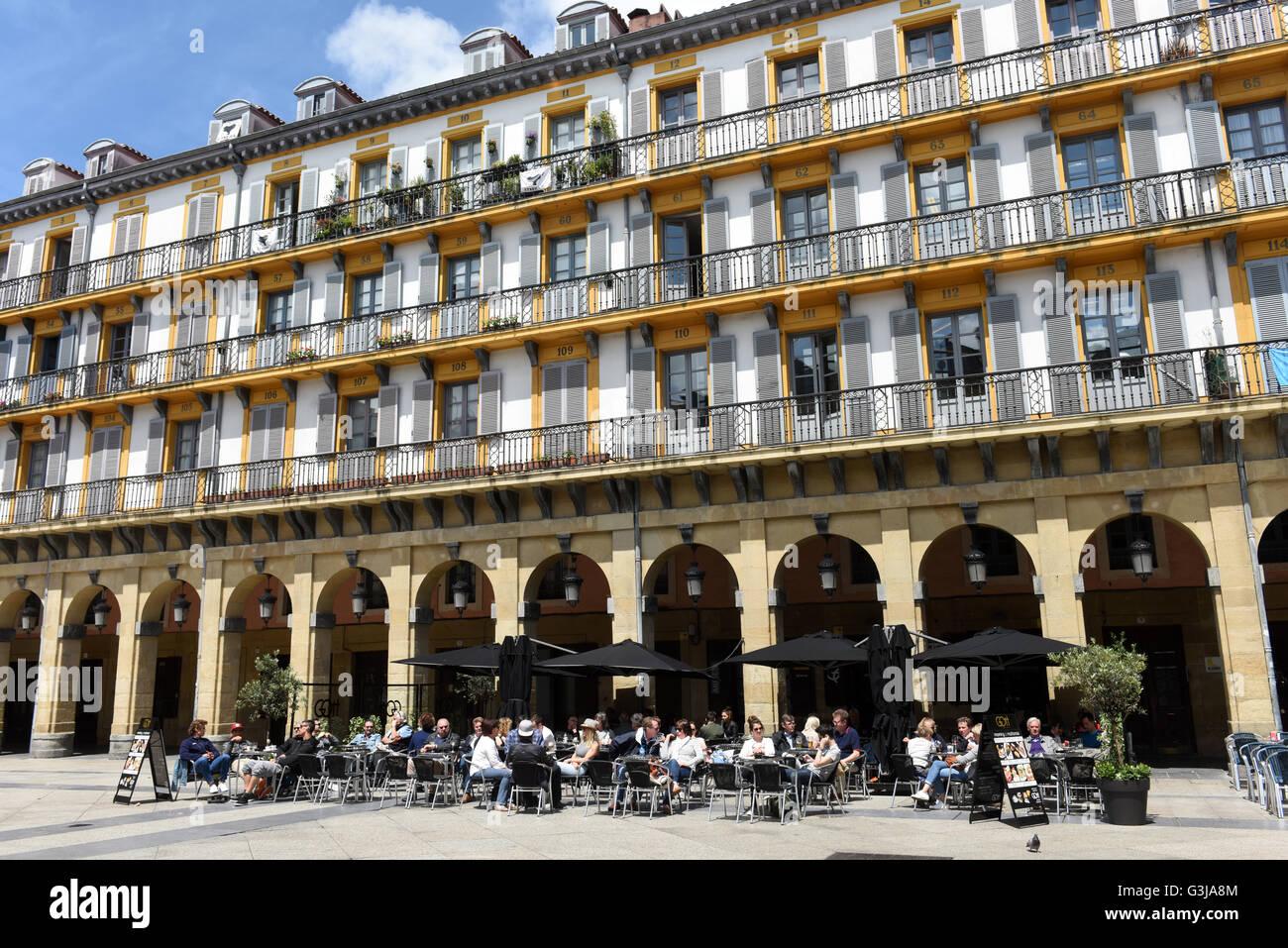 Constitution Square Plaza in San Sebastian or Donostia in Basque Country Spain - Stock Image