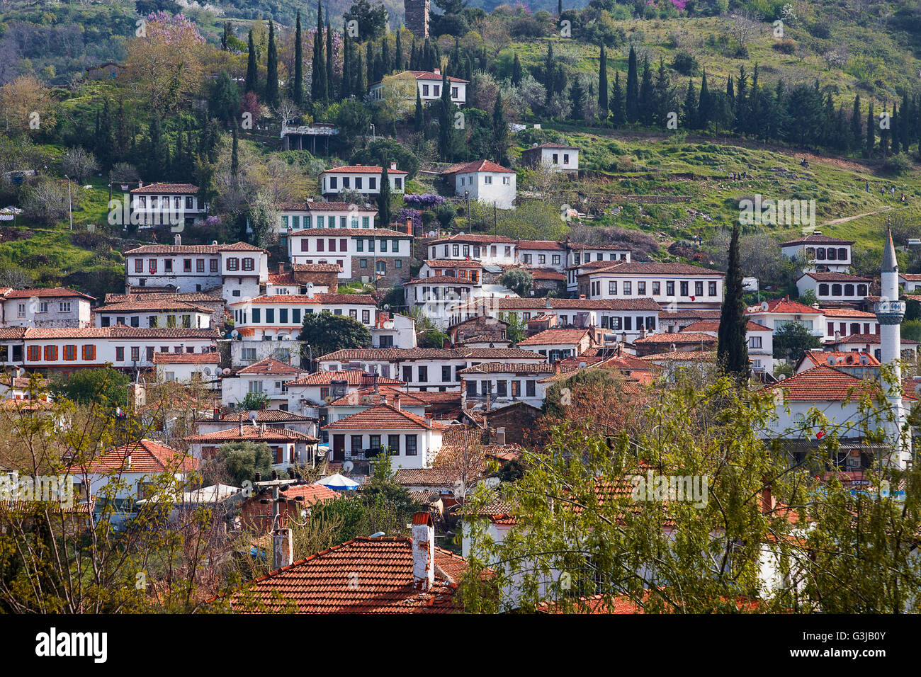 Old village houses in Sirince, Turkey - Stock Image