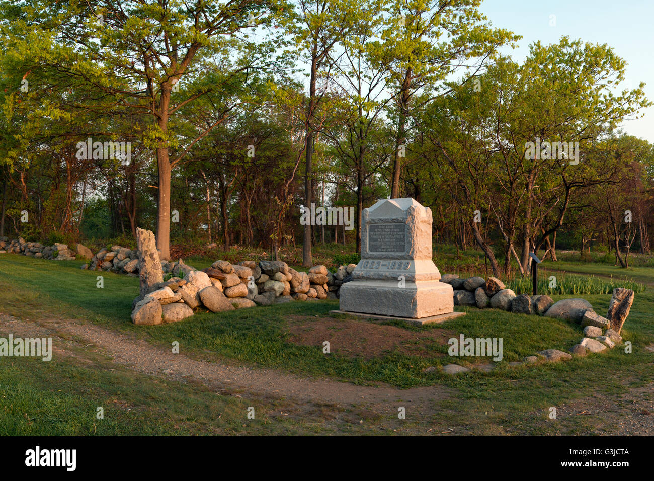 Odiorne Point State Park in Rye NH, site of first European settlers on New Hampshire seacoast - Stock Image