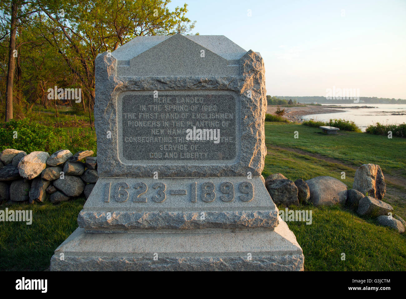 Odiorne Point State Park in Rye, NH, site of first European settlement on New Hampshire seacoast - Stock Image