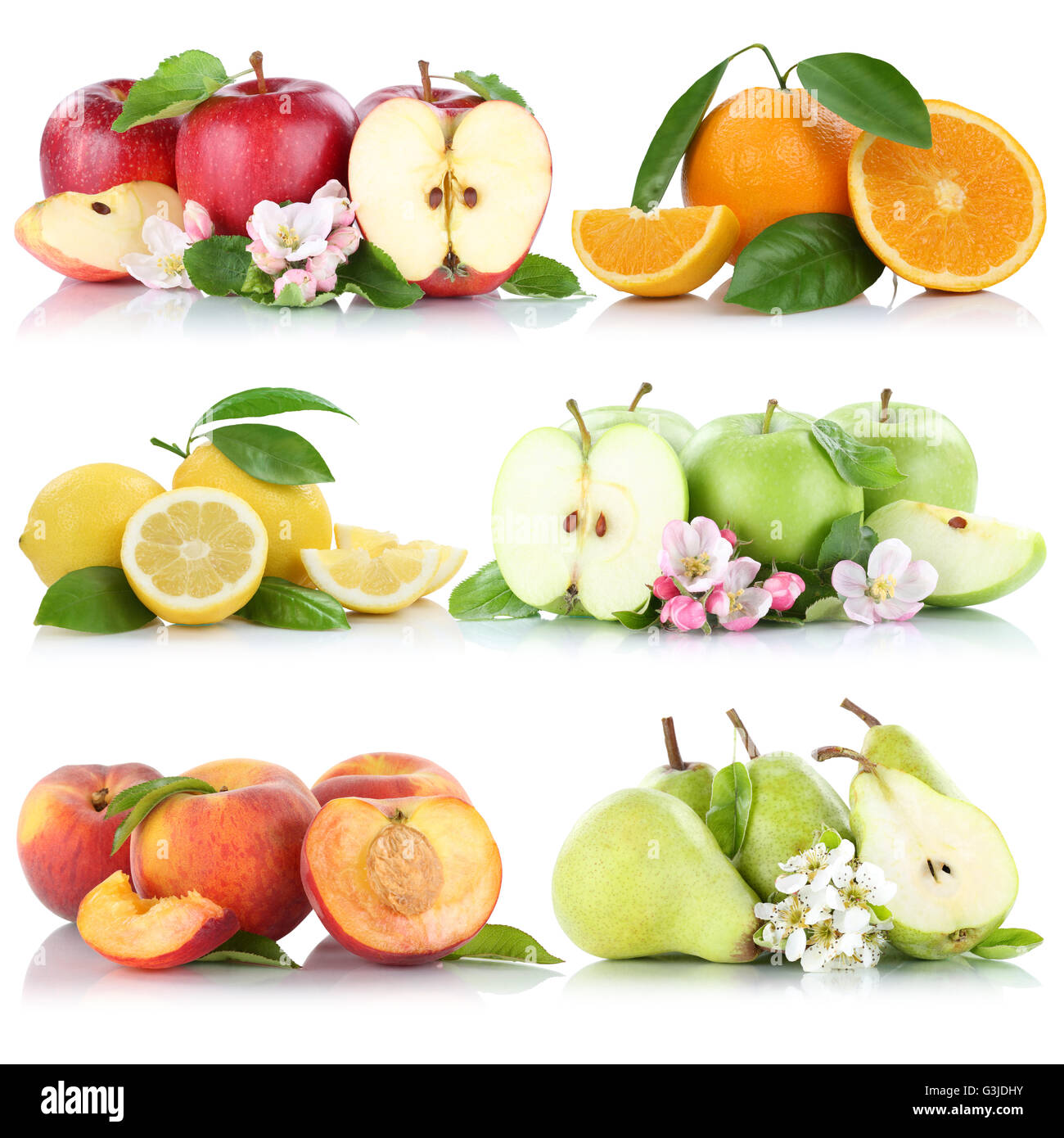 Fruits apple orange lemon peach apples oranges fruit collection isolated on a white background Stock Photo
