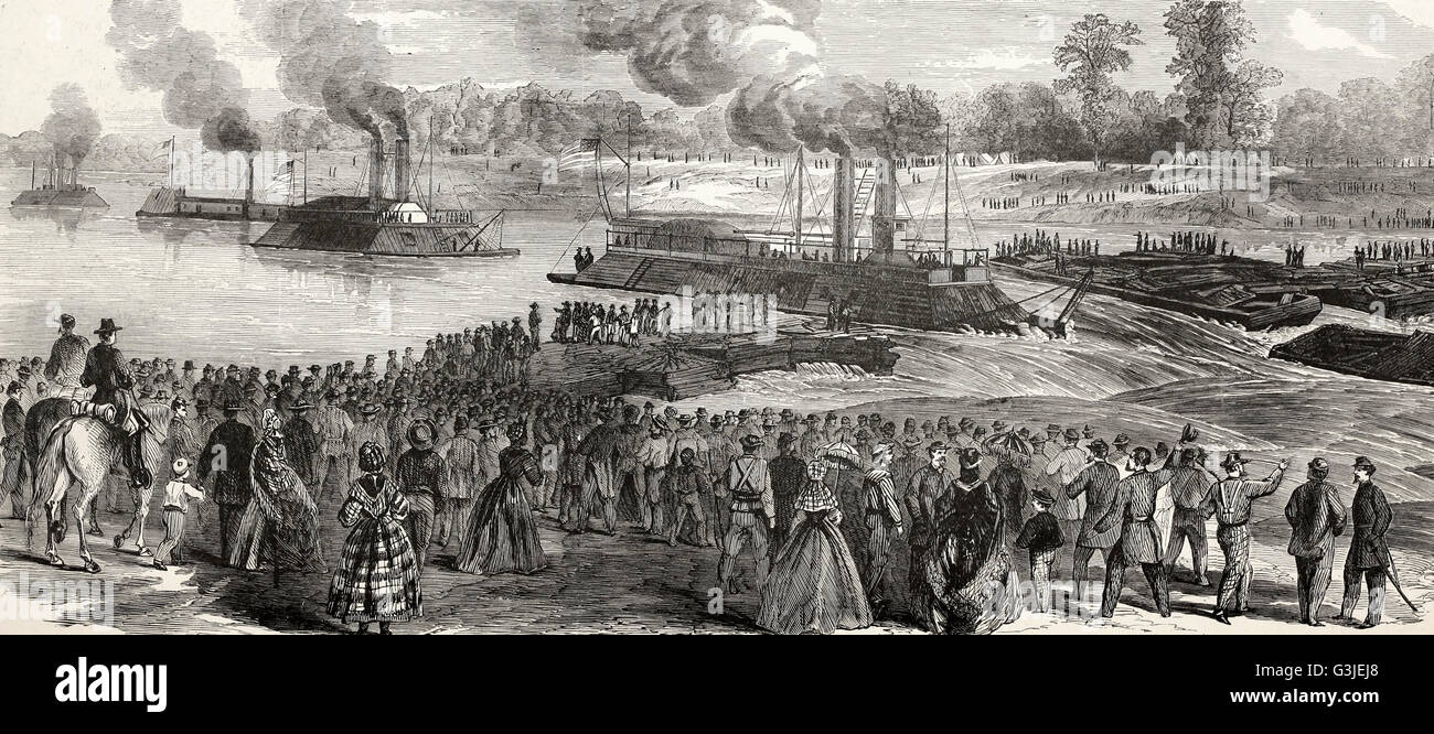 The War on the Red River - Admiral Porter's Fleet passing through Colonel Bailey's Dam, above Alexandria, - Stock Image