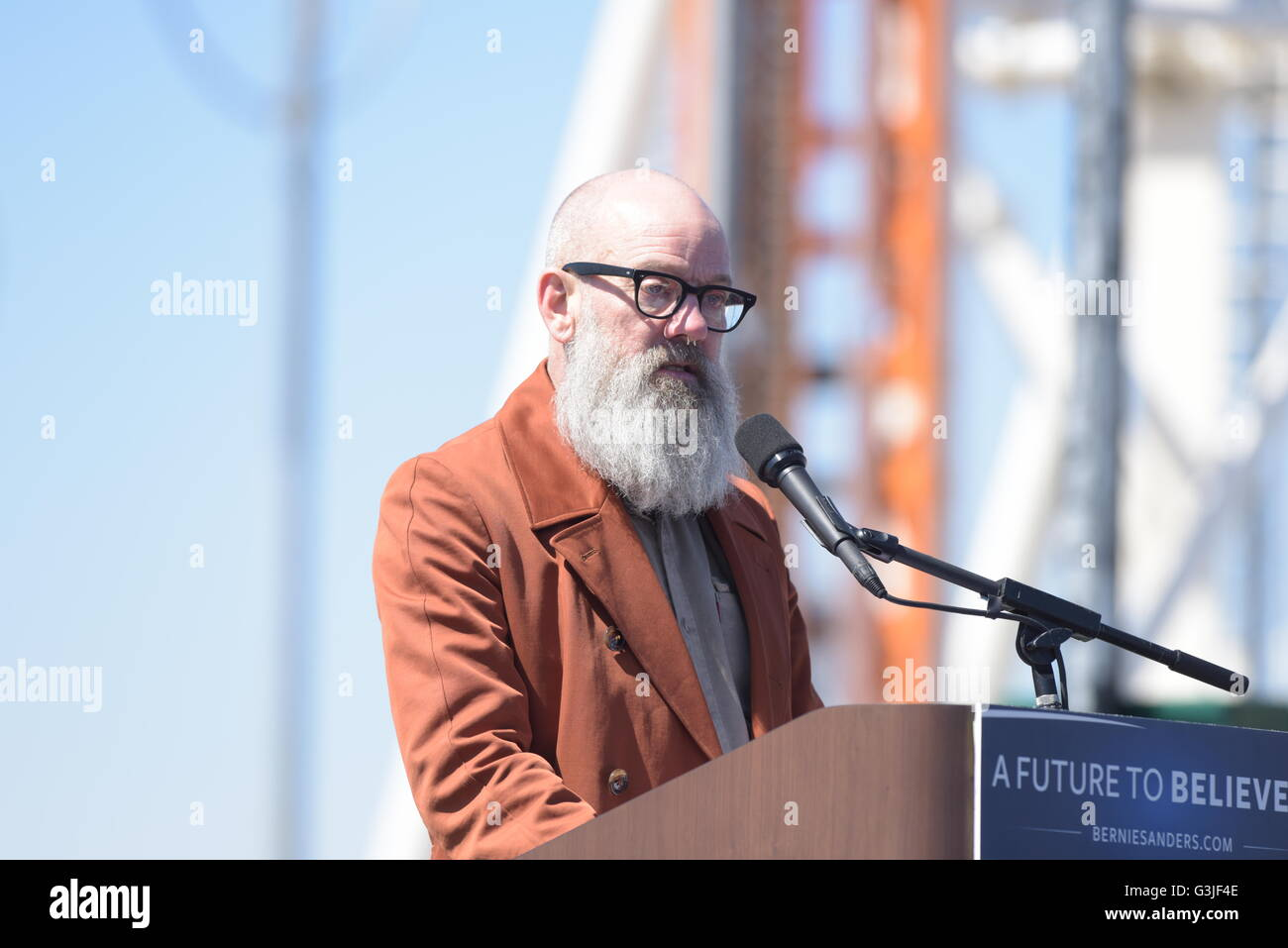New York City, United States. 10th Apr, 2016. Micheal Stipe, former lead singer of REM & Sanders supporter, - Stock Image
