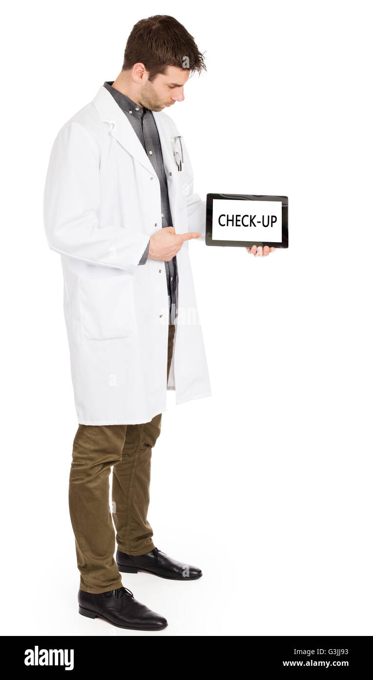 Doctor, isolated on white backgroun,  holding digital tablet - Check-up - Stock Image