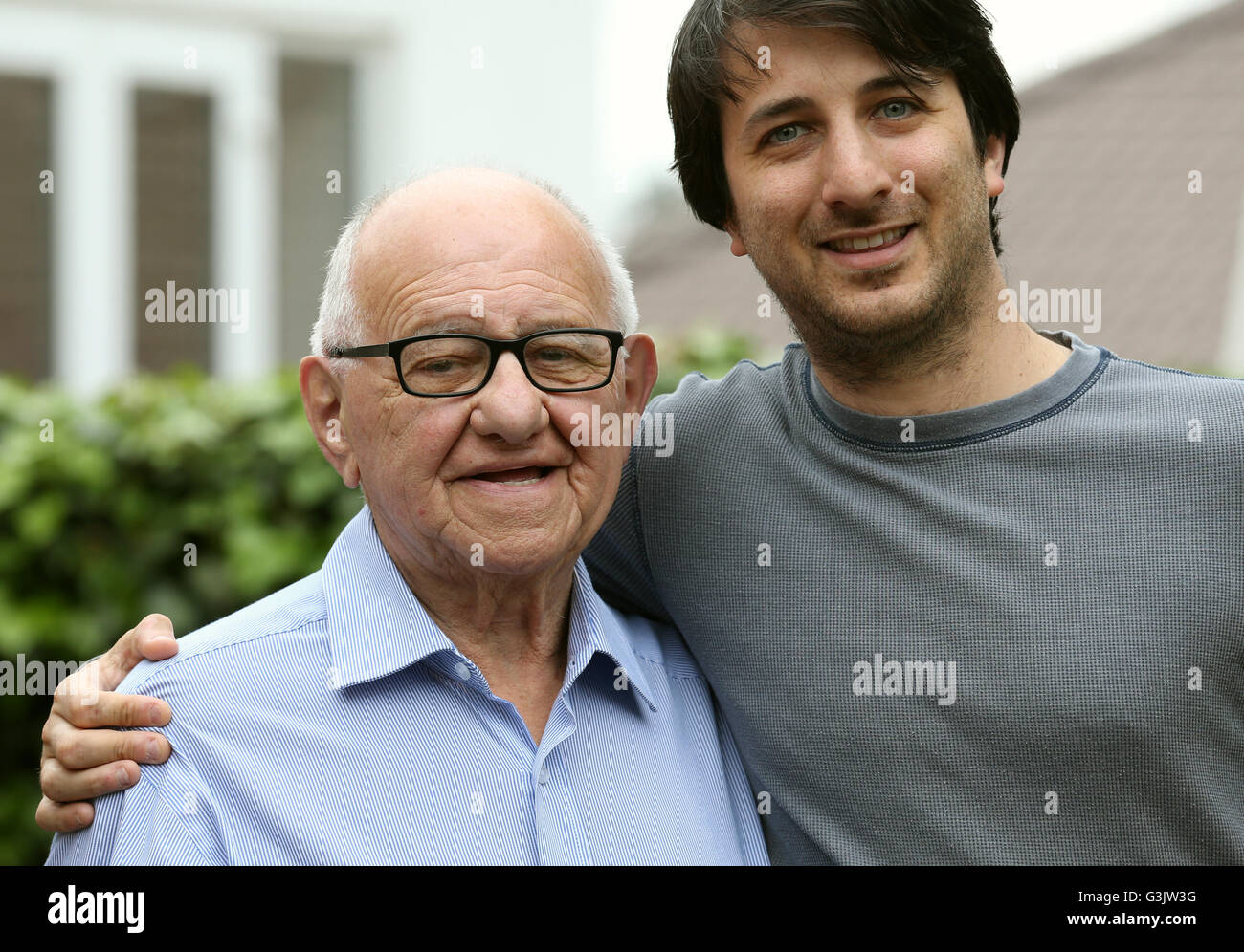 Previously unissued photo dated 25/5/2016 of Holocaust survivor Zigi Shipper with his Grandson Darren Richman at - Stock Image