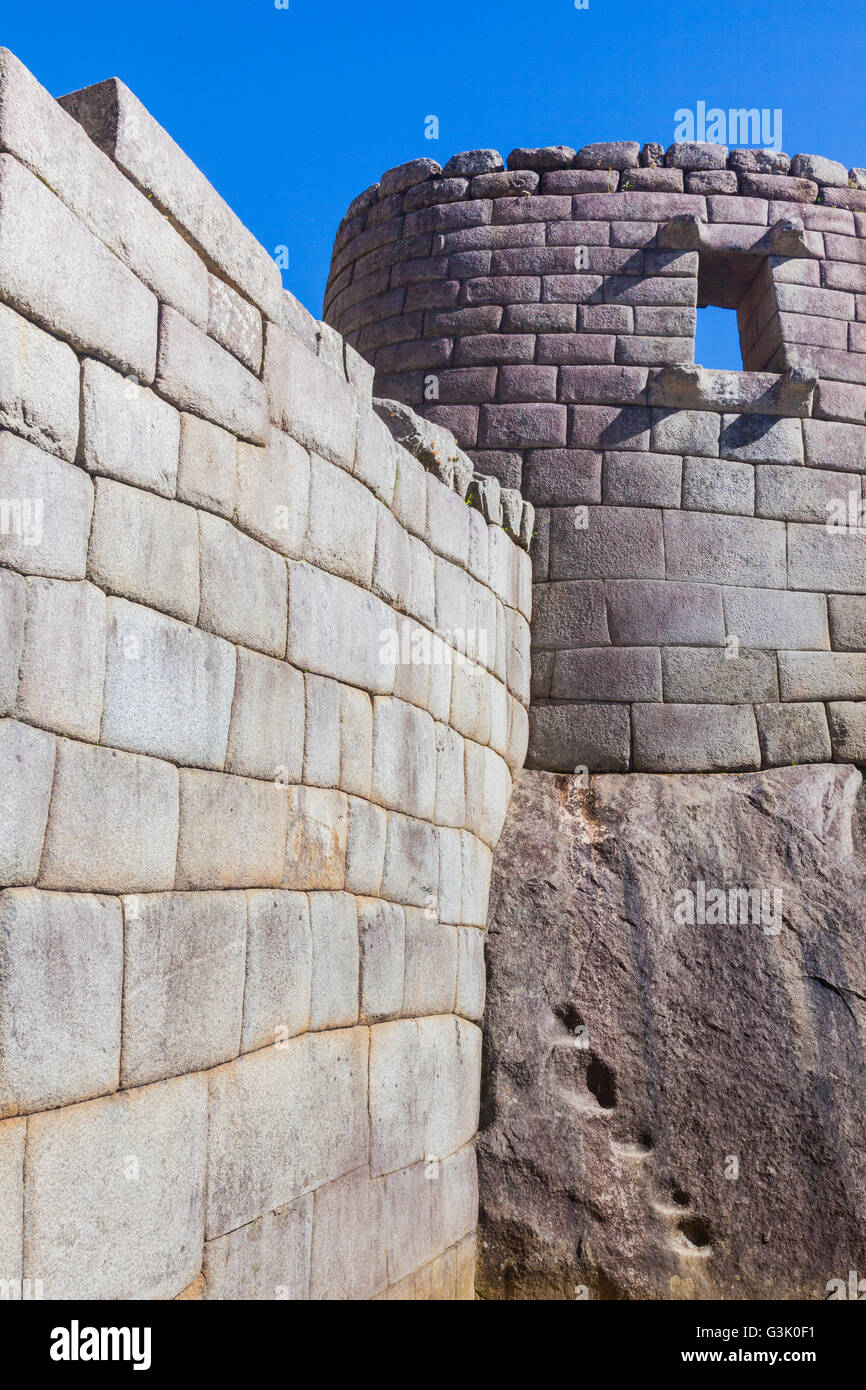 South facing trapezoidal opening in the Temple of the Sun at Machu Picchu, Peru - Stock Image