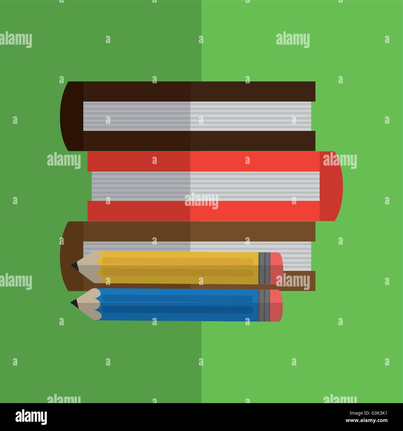books design. learning icon. Colorfull illustration, vector grap Stock Vector