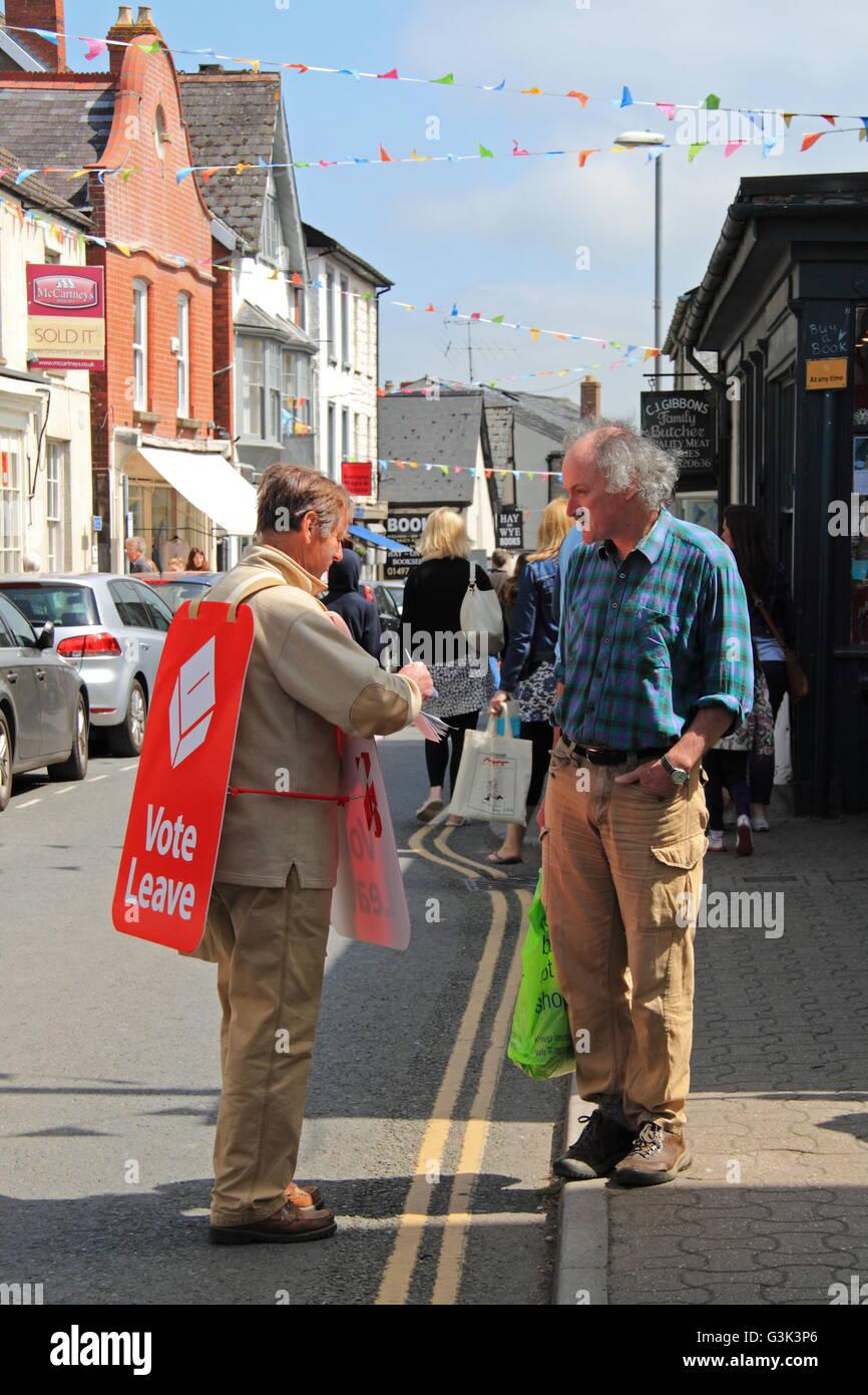 EU Referendum 'Brexit' campaigner, Castle Street, Hay-on-Wye, Powys, Wales, Great Britain, United Kingdom, - Stock Image