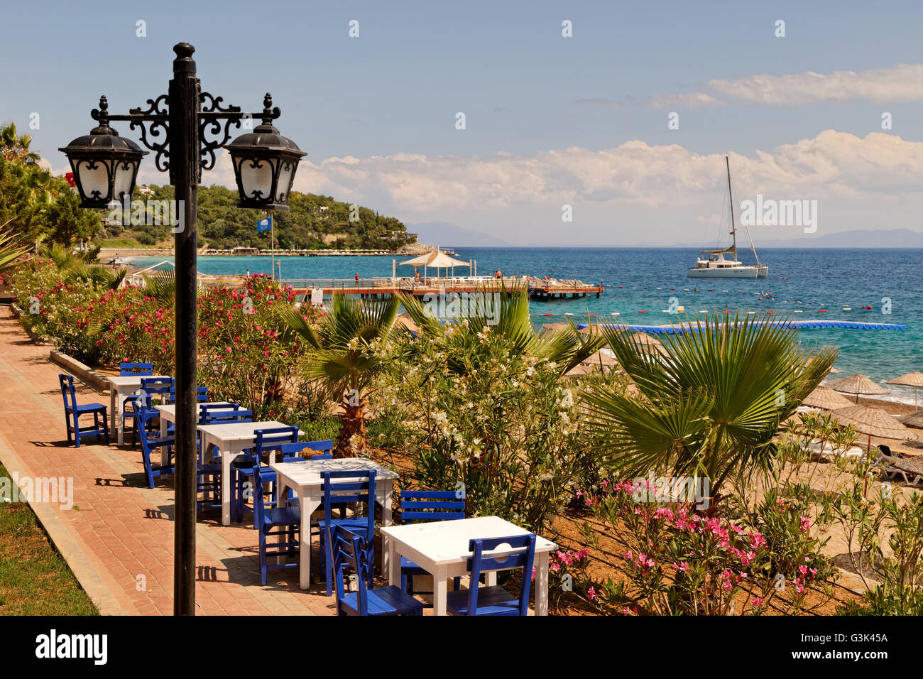 Yaliciftlik on the Bodrum Peninsula looking out to the Gulf of Gokova. - Stock Image