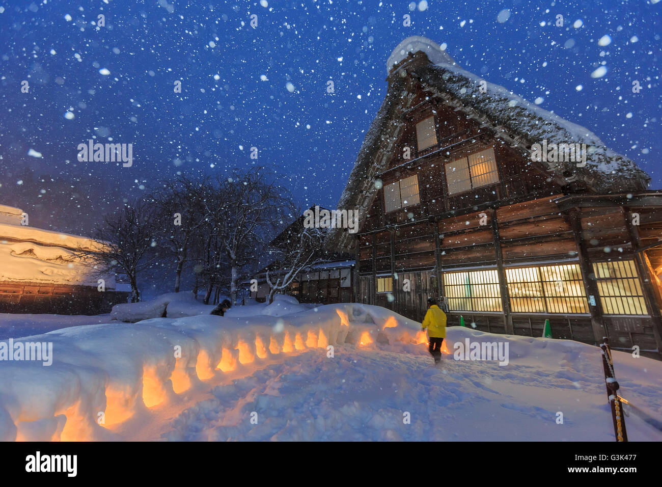 Historic Villages of Shirakawa-go in a snowy day at night - Stock Image