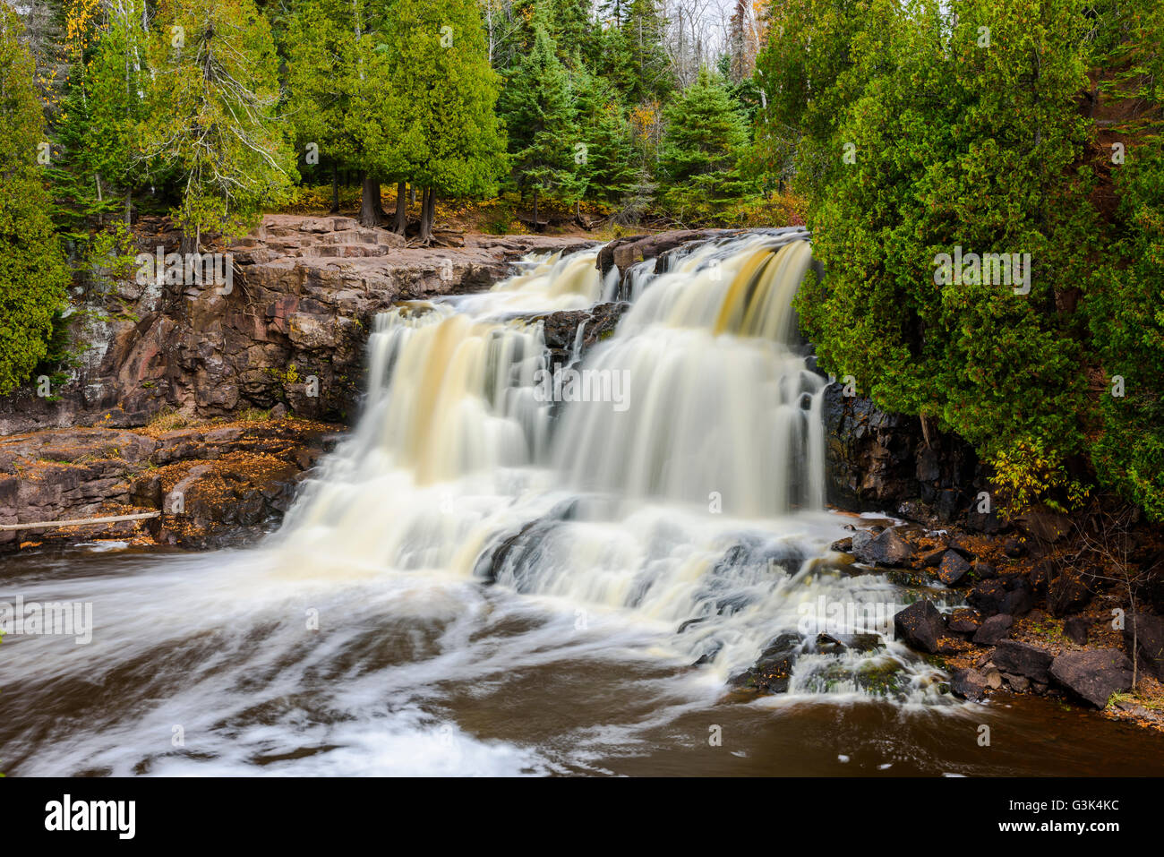 The upper falls of Gooseberry Falls State Park on the north shore of Minnesota. - Stock Image