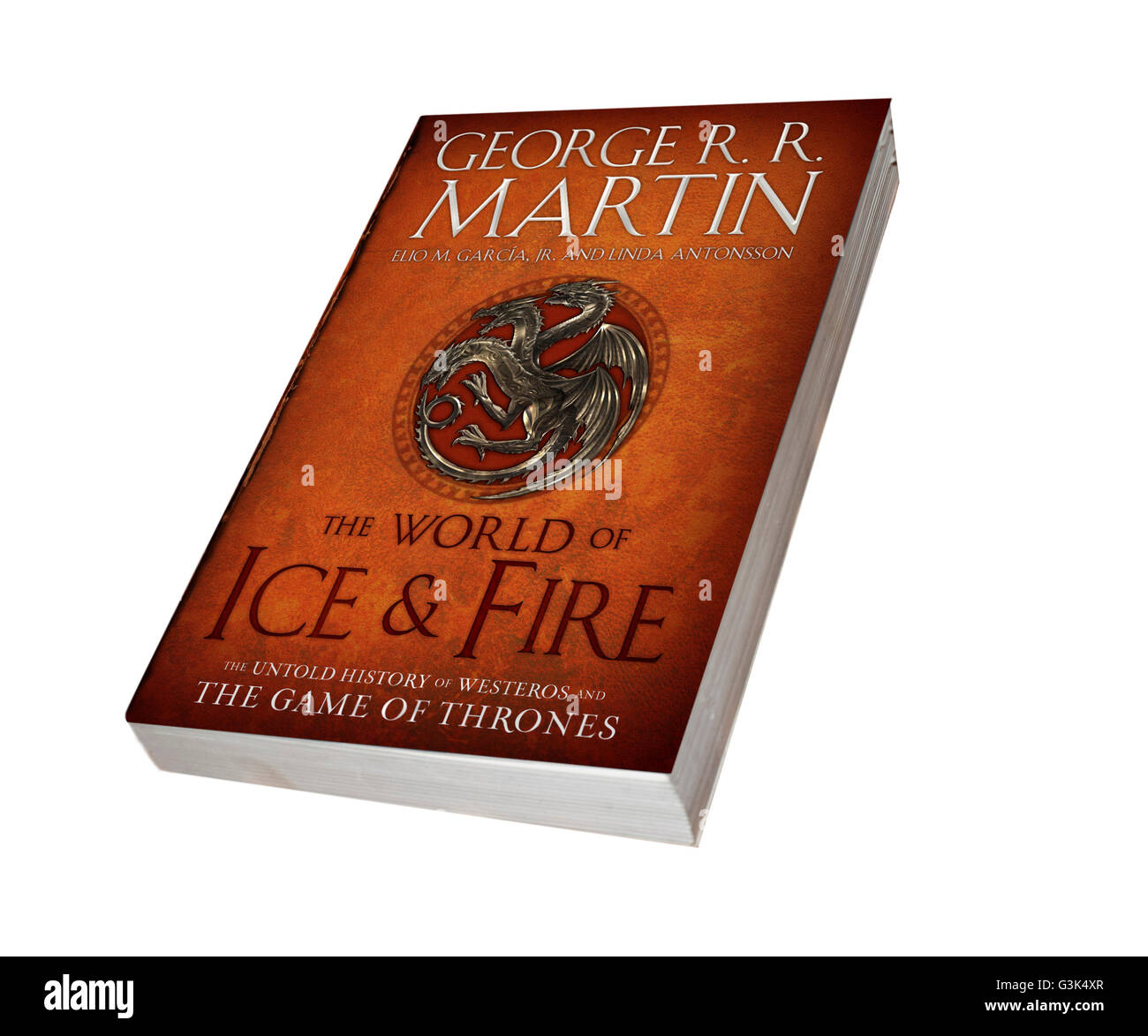 Game of thrones book 'World of Ice and Fire' - Stock Image