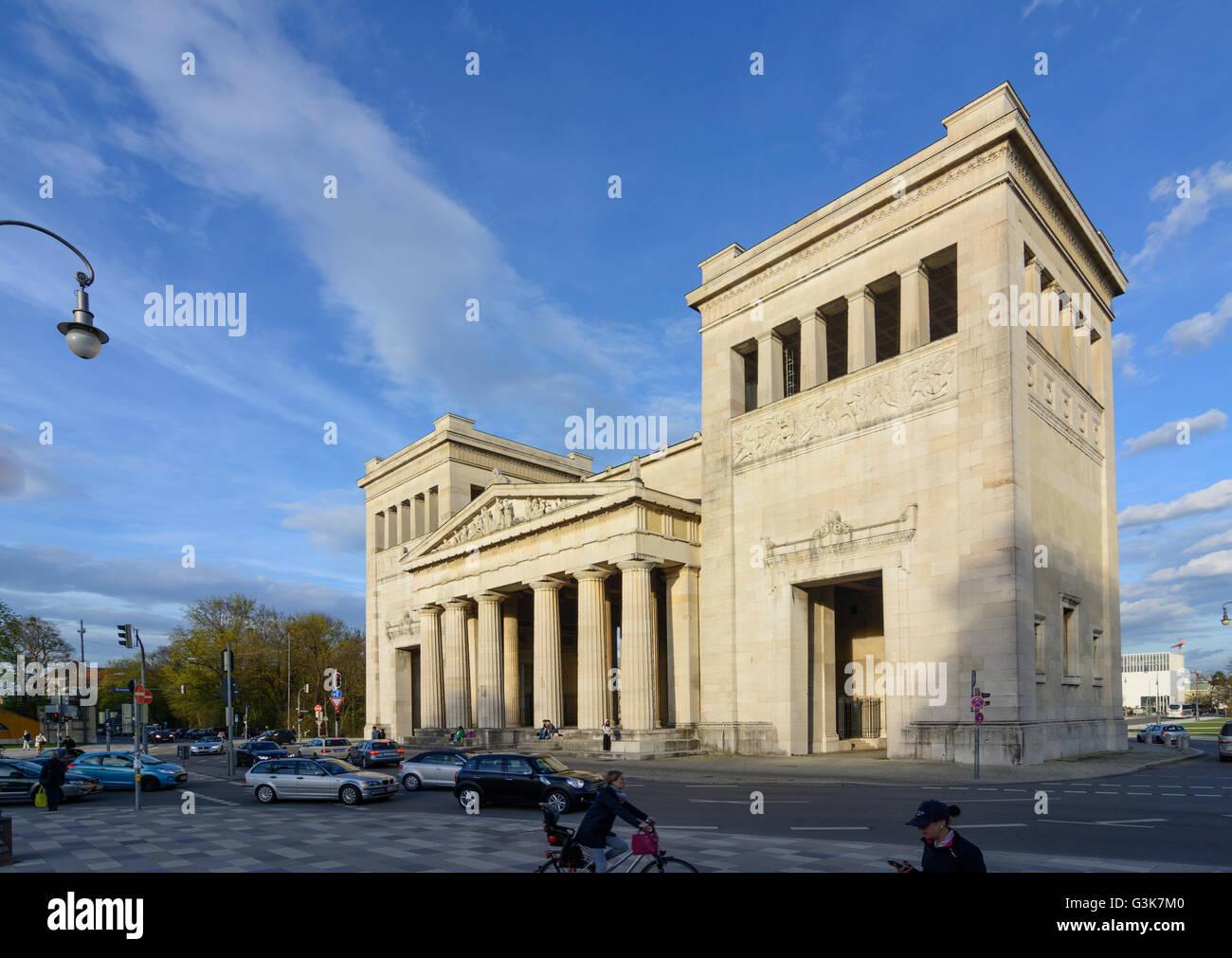 Königsplatz with the Propylaea, Germany, Bayern, Bavaria, Oberbayern, Upper Bavaria, München, Munich - Stock Image