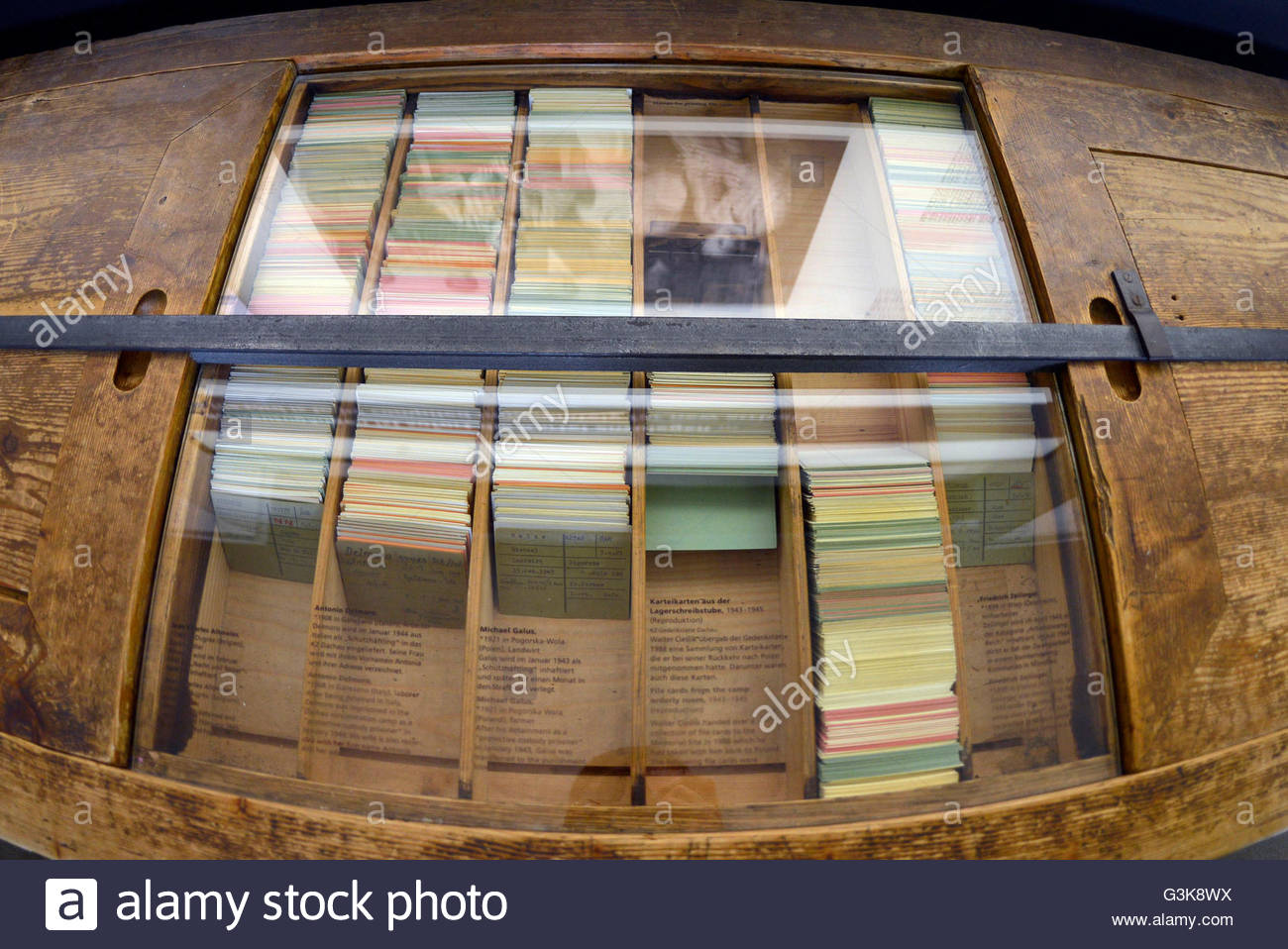 Cards of prisoners, jew files of Dachau Concentration Camp Munich Germany Bavaria - Stock Image
