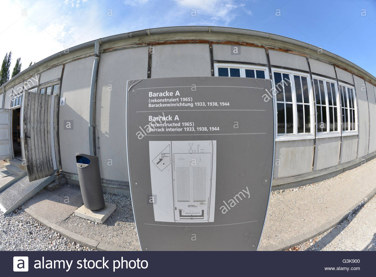 prisoners Barrack map at Dachau Concentration Camp Munich Germany Bavaria - Stock Image
