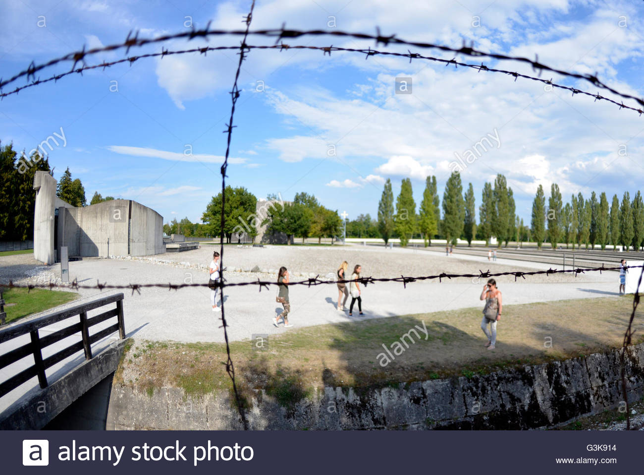 barbed wire fence at Dachau Concentration Camp Munich Germany Bavaria - Stock Image