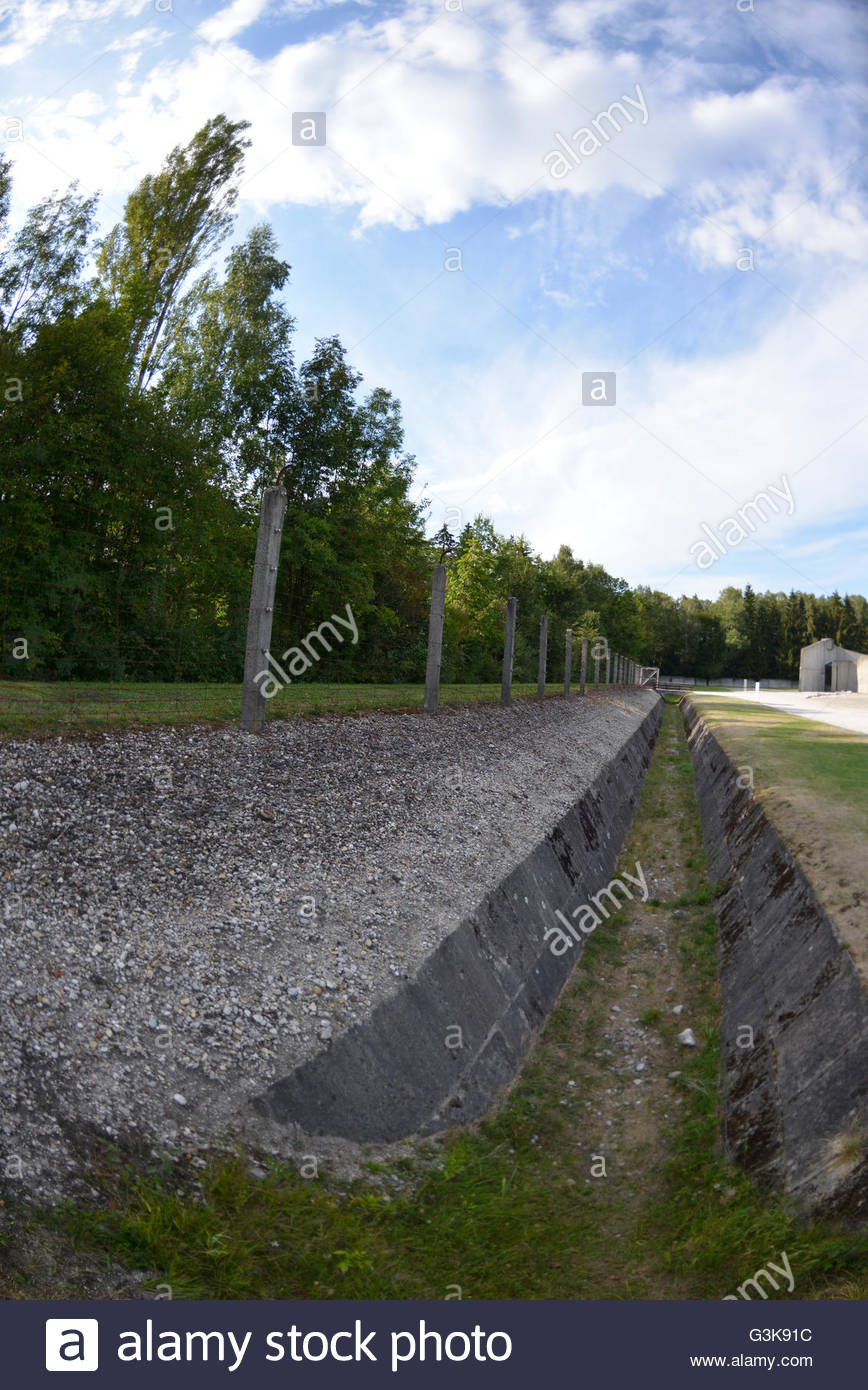 moat fence at Dachau Concentration Camp Munich Germany Bavaria - Stock Image