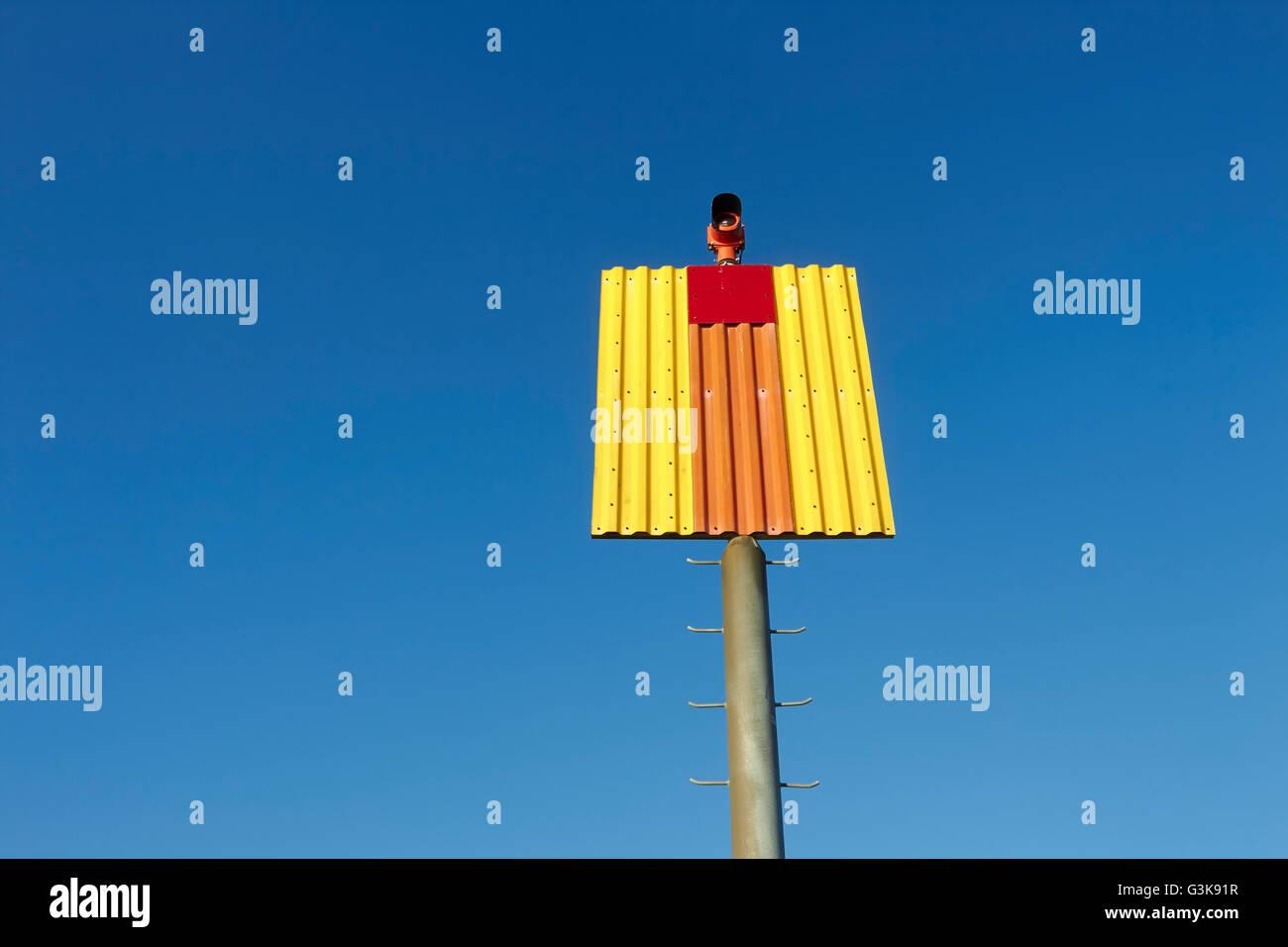 navigation mark against blue sky, Finland - Stock Image