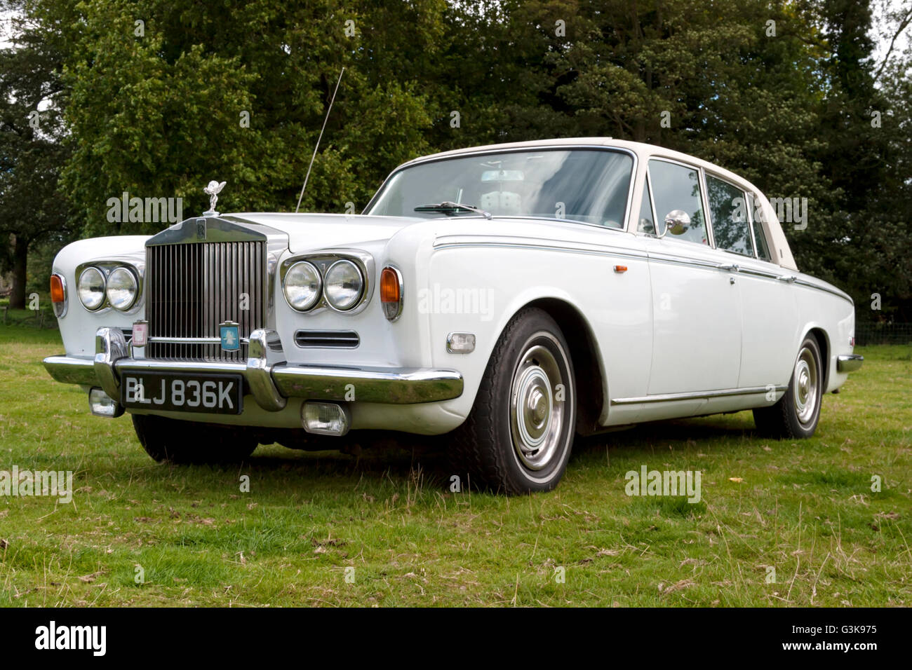 A 1971 Rolls Royce Shadow One complete with fluffy dice at the 2004 Breamore House Classic Car Show, Hampshire, - Stock Image