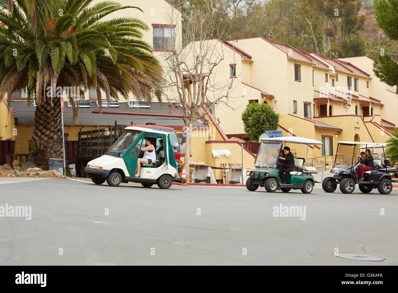 Morning School Run Of Golf Carts In Avalon, Santa Catalina Island, California. - Stock Image