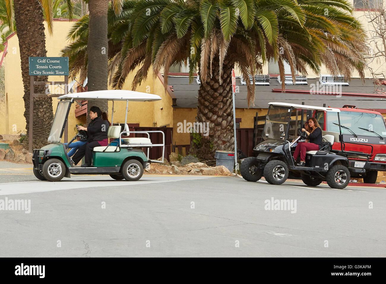 Morning Golf Cart School Run In Avalon, Santa Catalina Island, California. - Stock Image