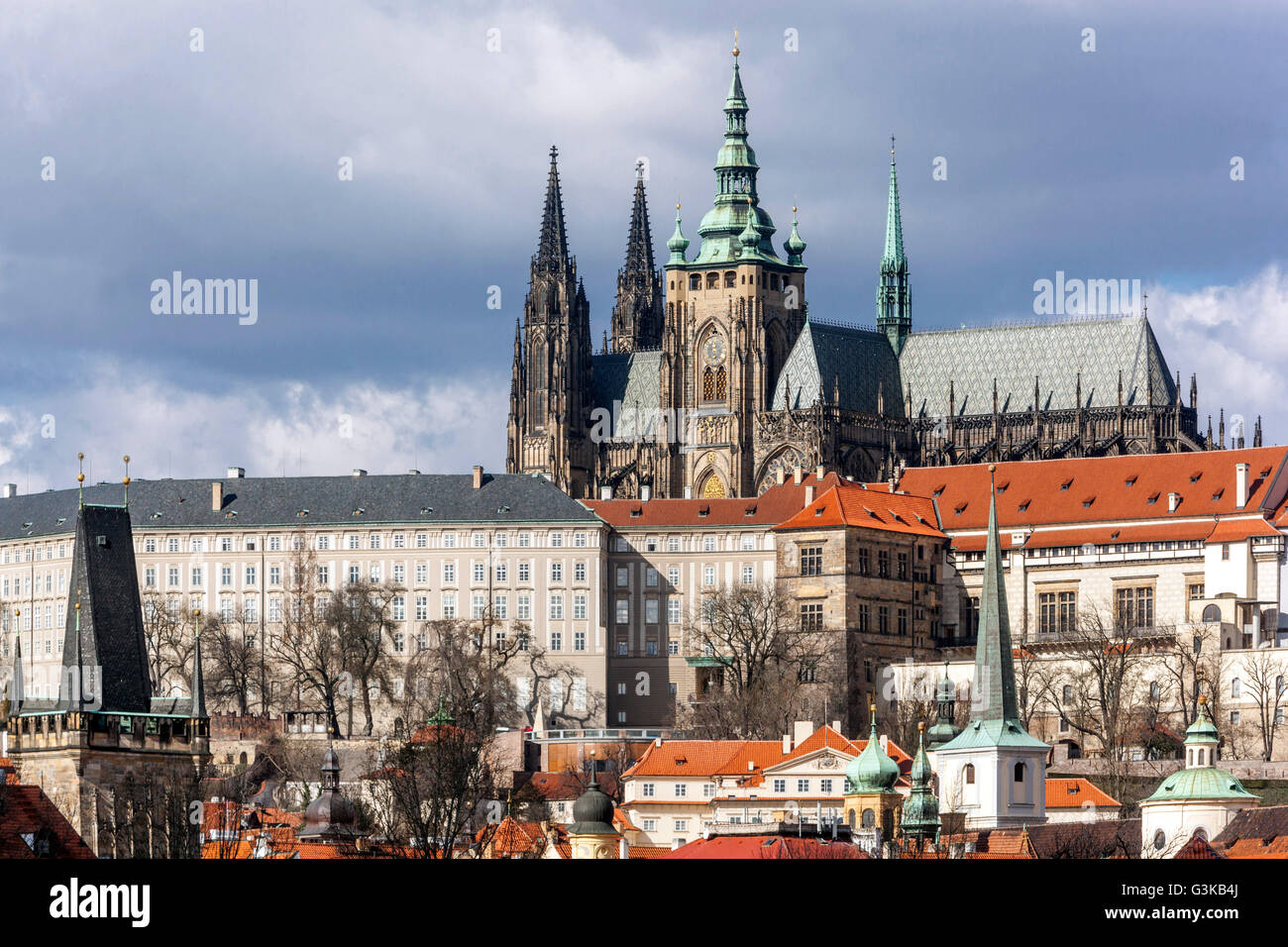 Prague Castle view, Presidential seat, Czech Republic, Europe, The world well-known view, the famous site - Stock Image