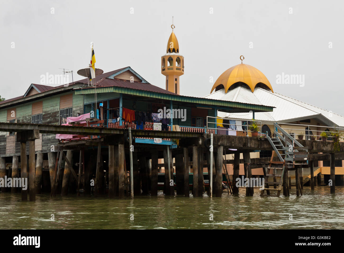Brunei's water village with Mosque called Kampong Ayer in Bandar Seri Begawan - Stock Image