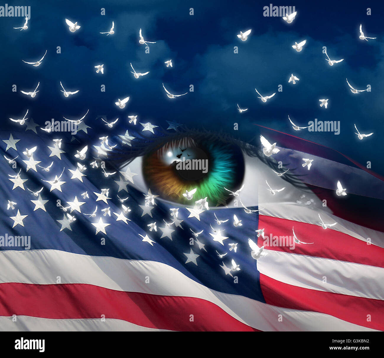Grief and sorrow in America concept as a diverse human eye with the flag of the United Staes with doves emerging Stock Photo