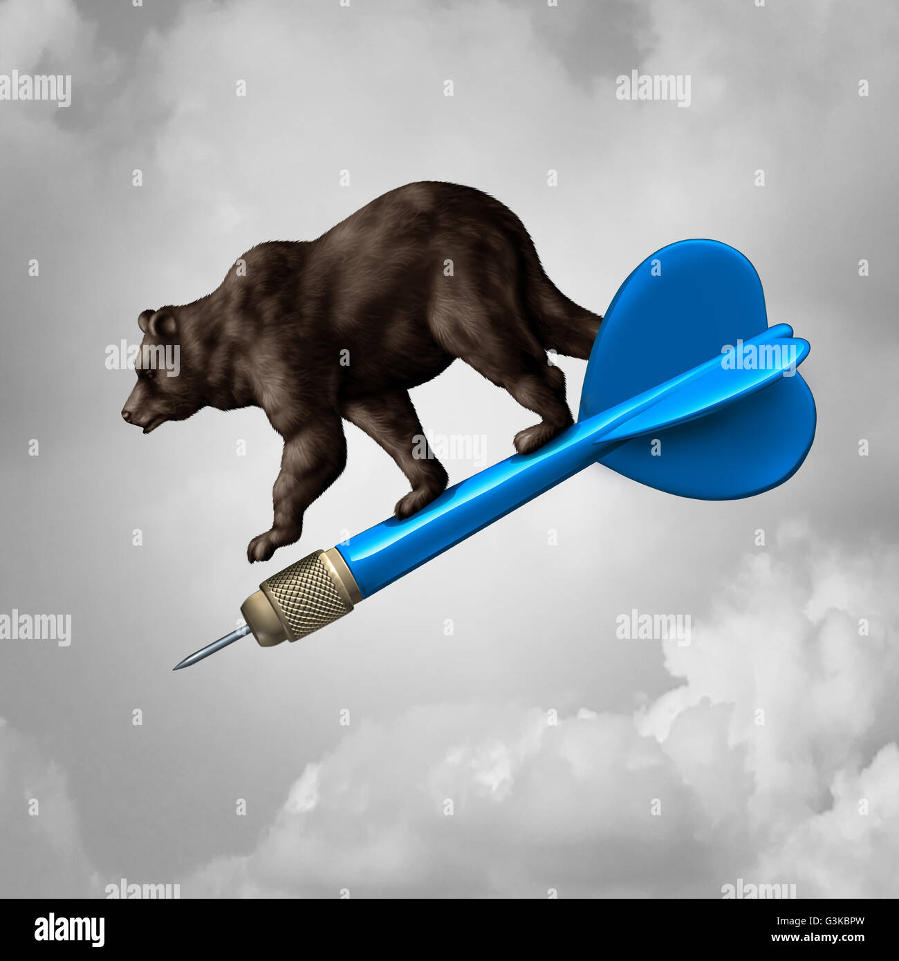 Bear market prediction missed target financial concept and losing stock goal business symbol as a pessimistic riding - Stock Image