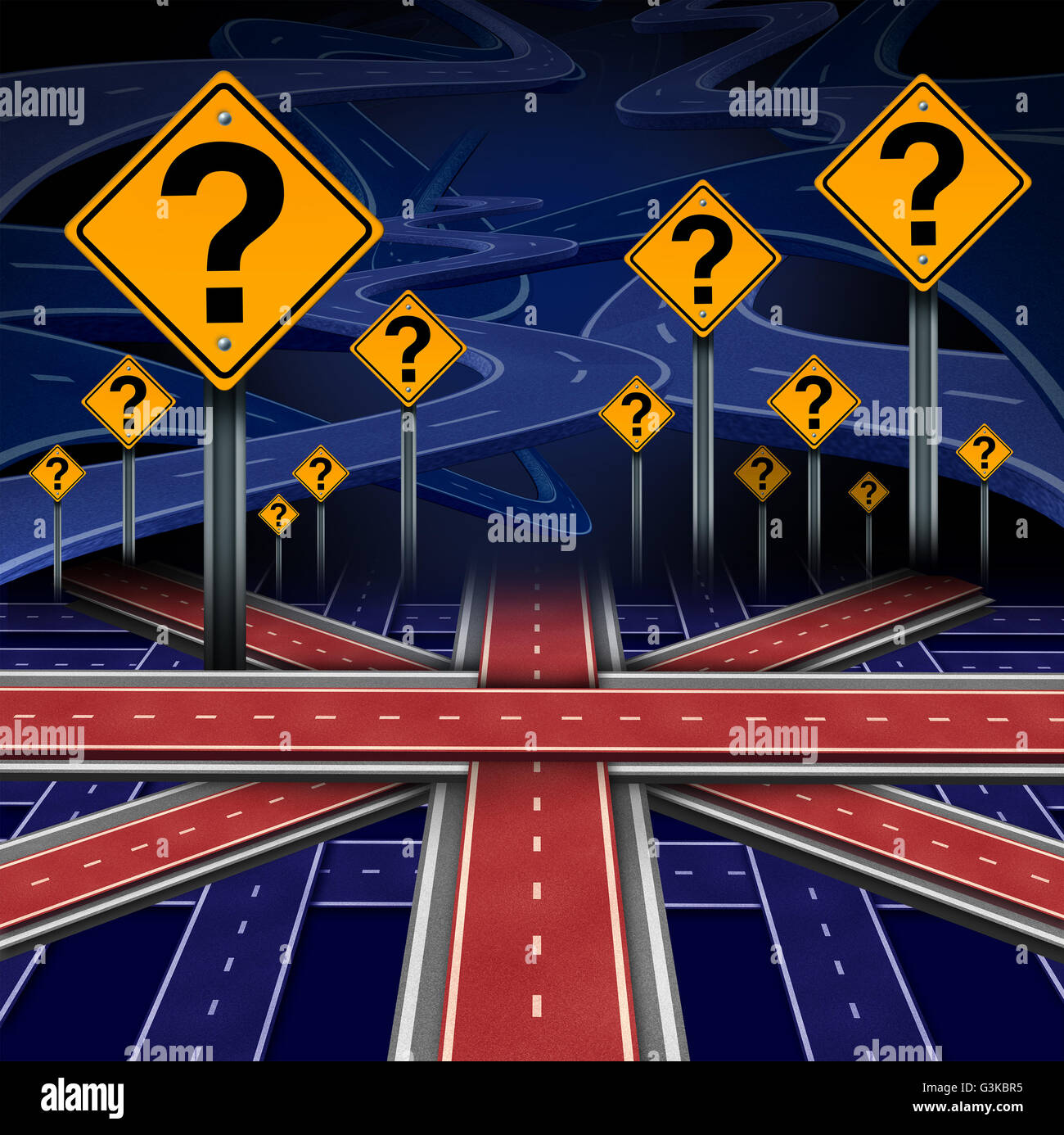 British European question as a brexit concept pertaining to the UK vote confusion and Euro zone and Europe membership - Stock Image