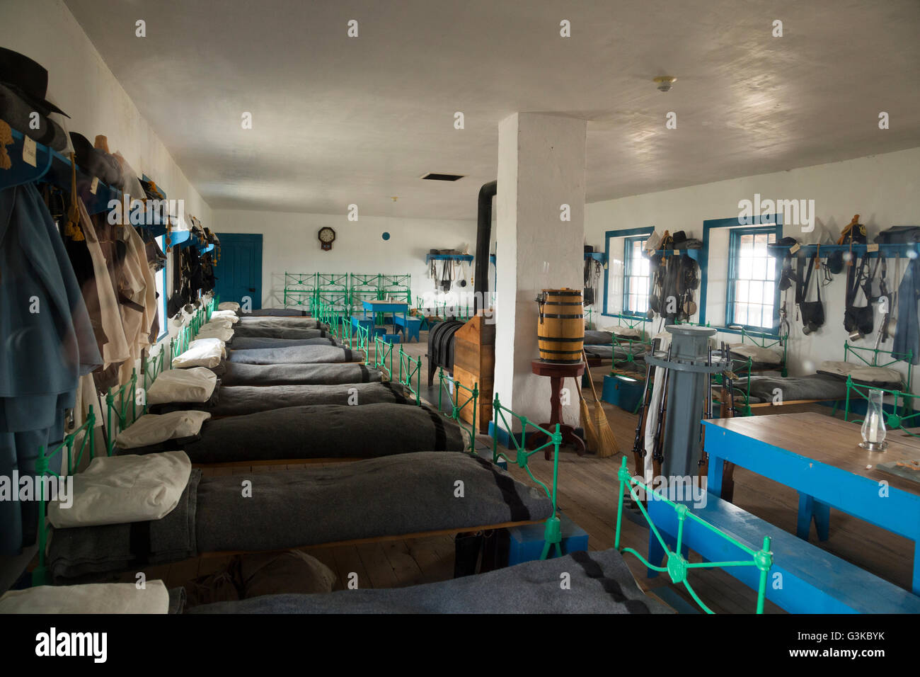 Fort Laramie Wyoming Army post interior of barrack room - Stock Image