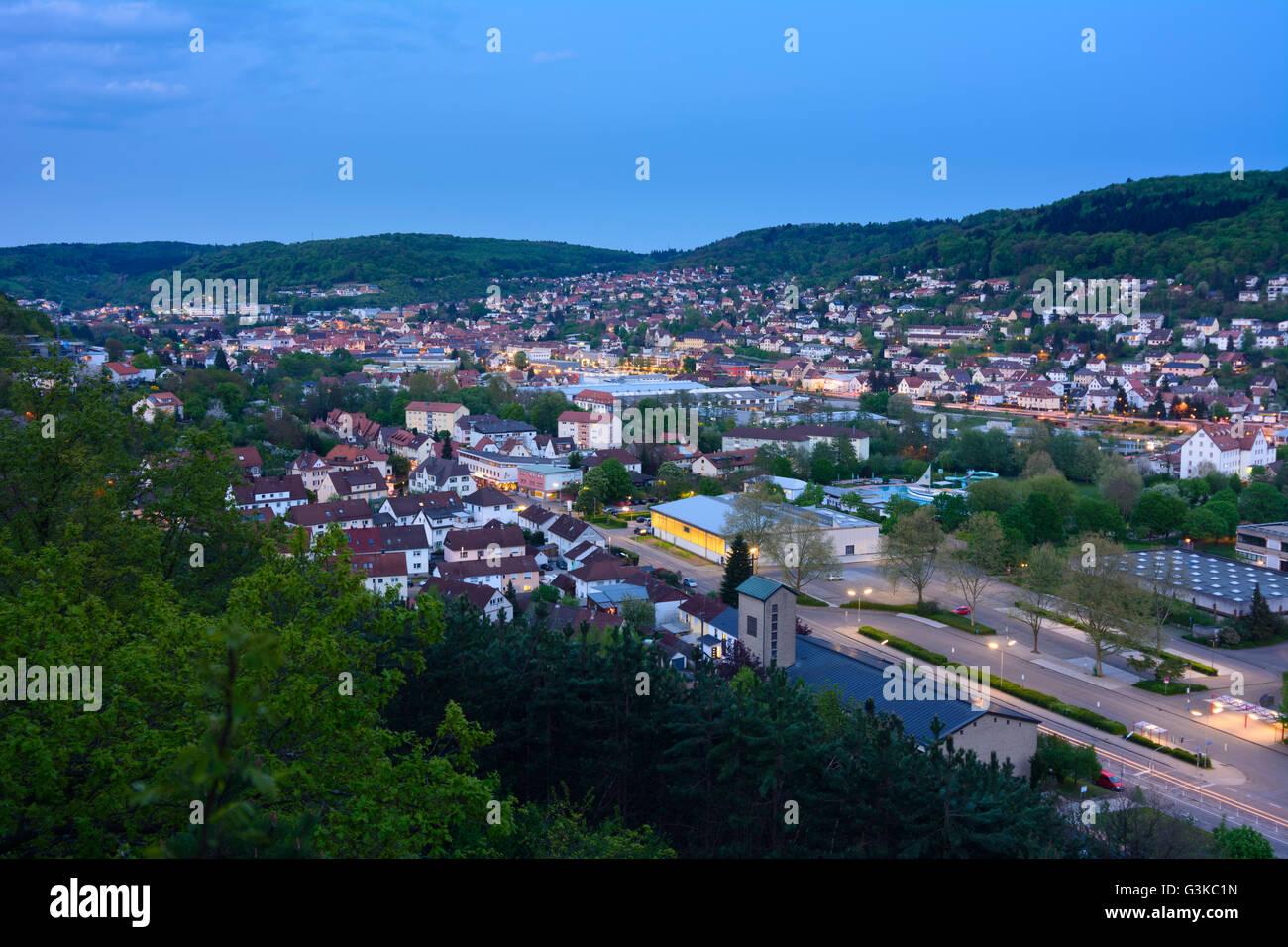 Blick auf Mosbach, Germany, Baden-Württemberg, Odenwald, Mosbach - Stock Image