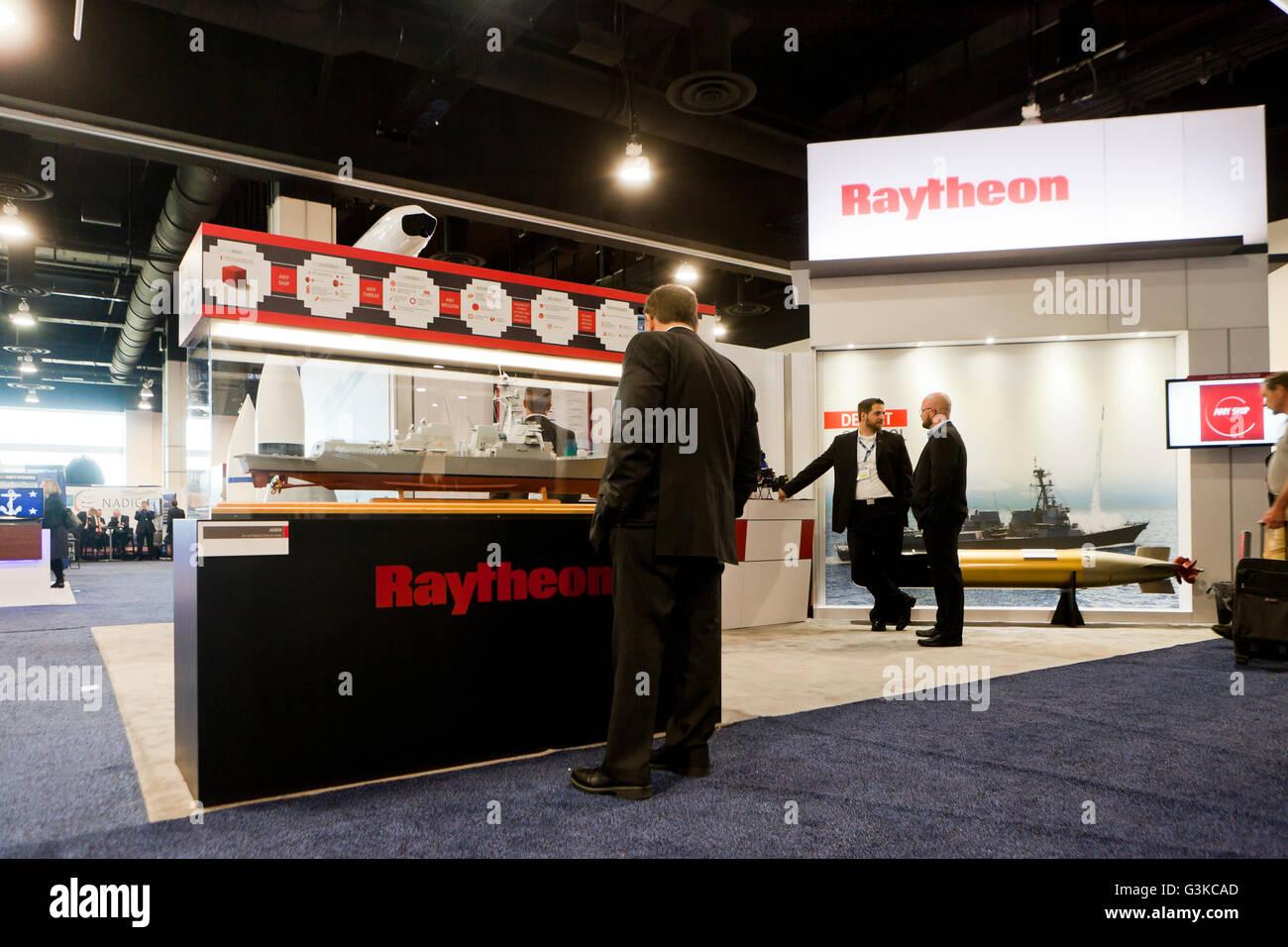 Raytheon exhibit booth at US Navy League Sea-Air-Space Exposition - Washington, DC USA - Stock Image