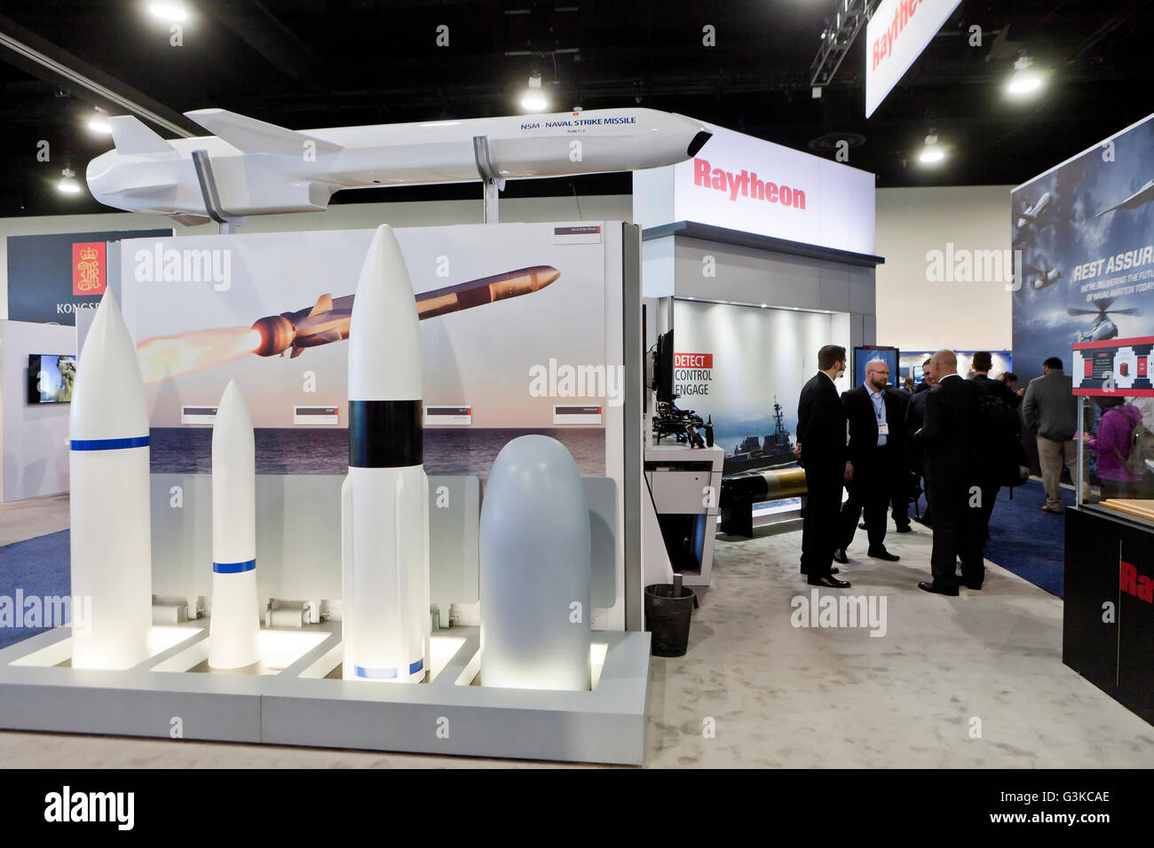 Raytheon exhibit booth displaying Naval Strike Missile (NSM) at US Navy League Sea-Air-Space Exposition - Washington, - Stock Image