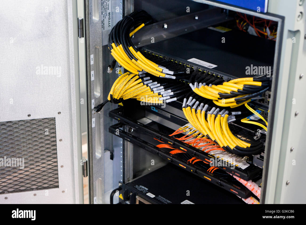 Network cable connectors on back of switch hub - USA - Stock Image