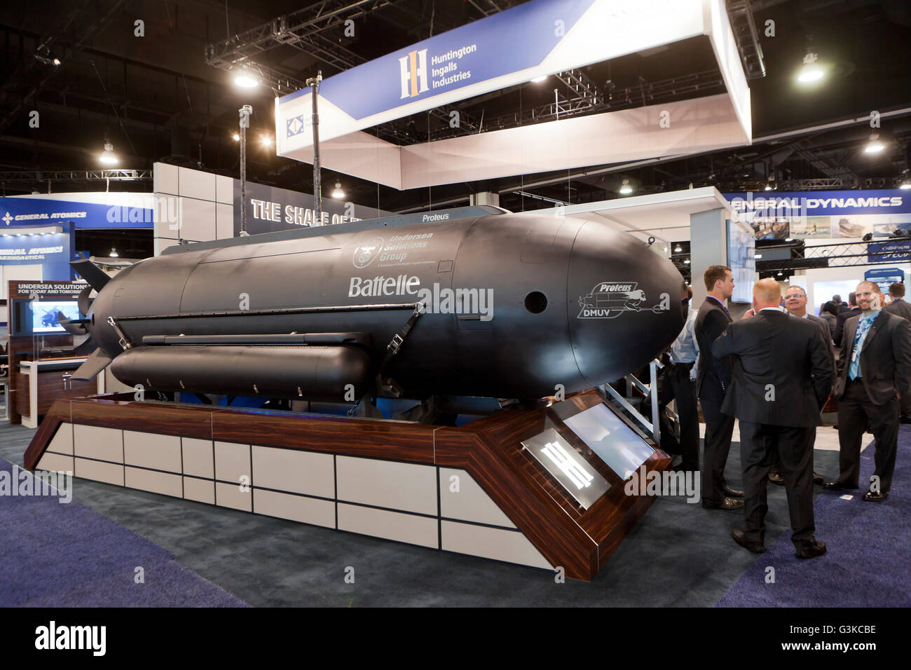 Proteus undersea vehicle made by Undersea Solutions Group, Huntington Ingalls display at US Navy League Sea-Air - Stock Image