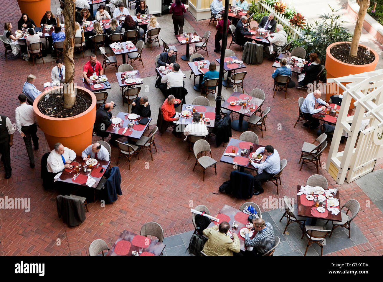 Diners at hotel restaurant from above - USA - Stock Image