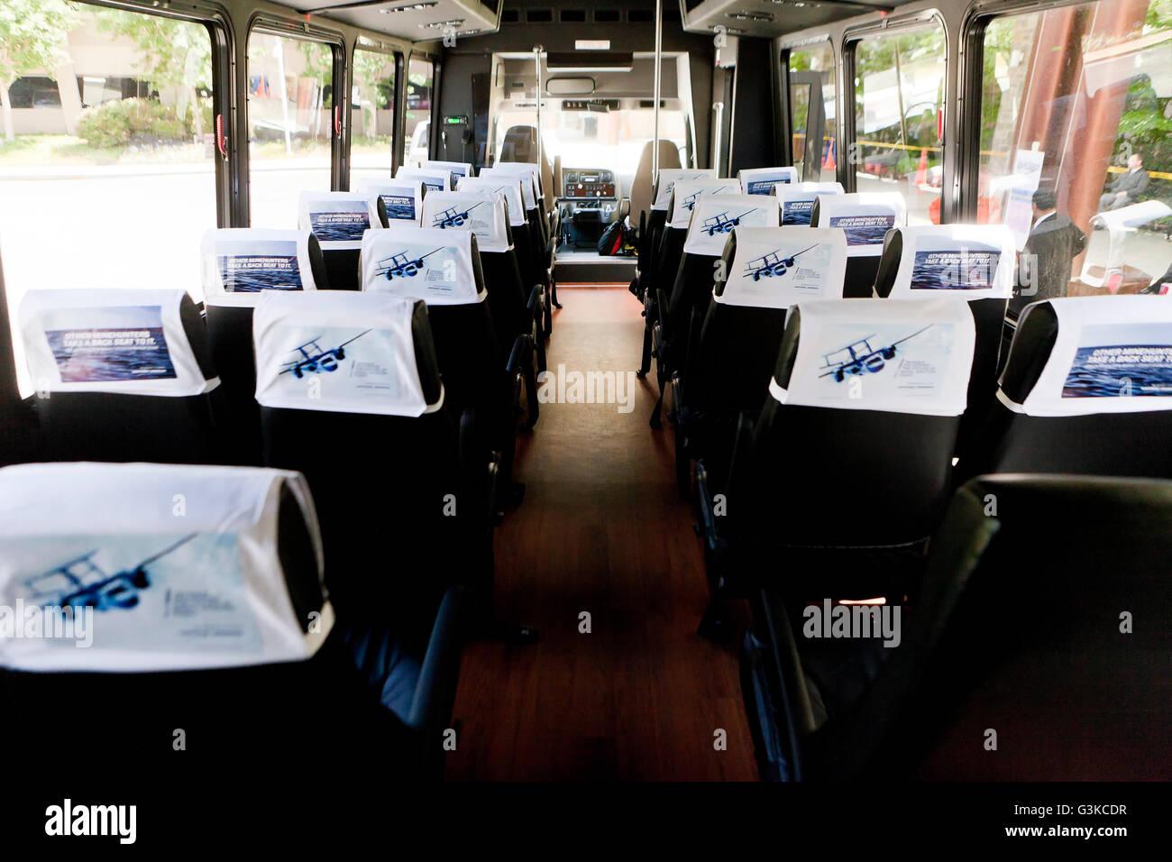 Charter bus interior - USA - Stock Image