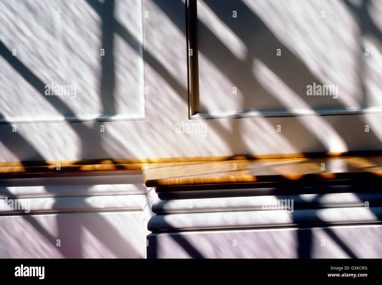 Abstract view of light & shadows on pews; Stowe Community Church; Stowe; Vermont; USA Stock Photo