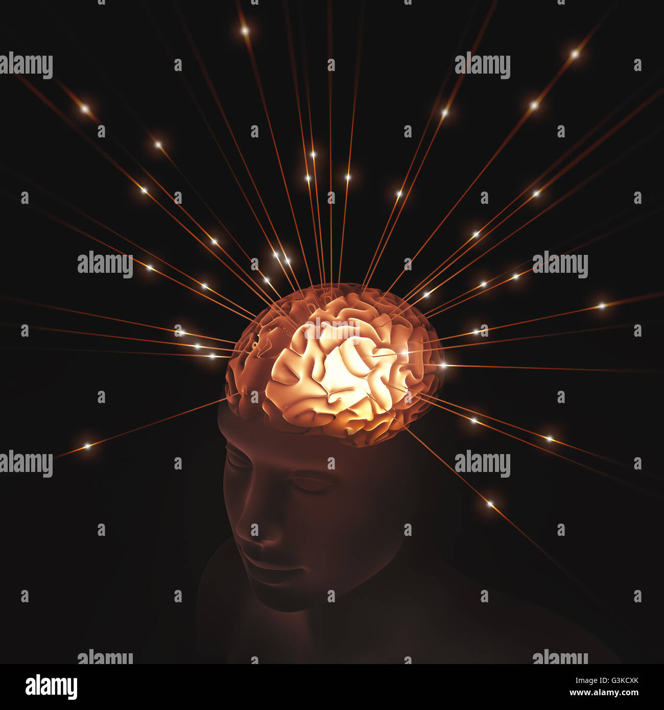 Human head translucent illuminated by pulses of energy entering the brain. - Stock Image