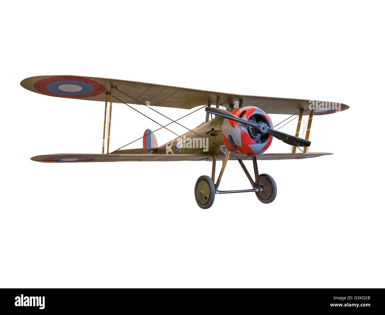 A  front 3/4 view of a Nieuport 28C-1 Spad WW-1 Fighter plane knockout on a white  background - Stock Image