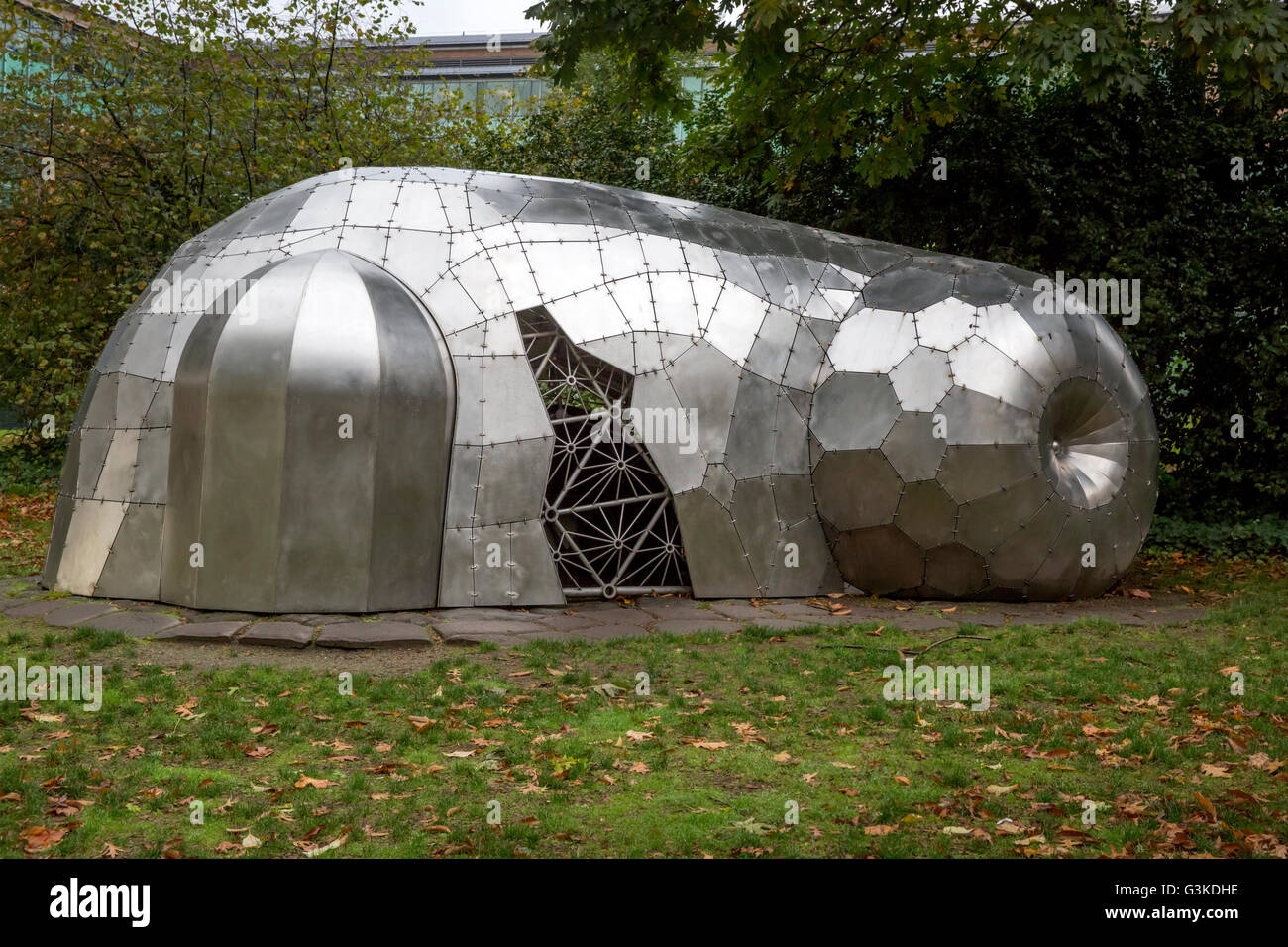 2004 stainless and galvanized steel sculpture by Cris Bruch titled: Department of Forensic Morphology Annex - Stock Image