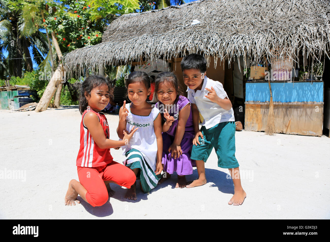 Local Children Posing Near Kindergarten Christmas Island Kiribati