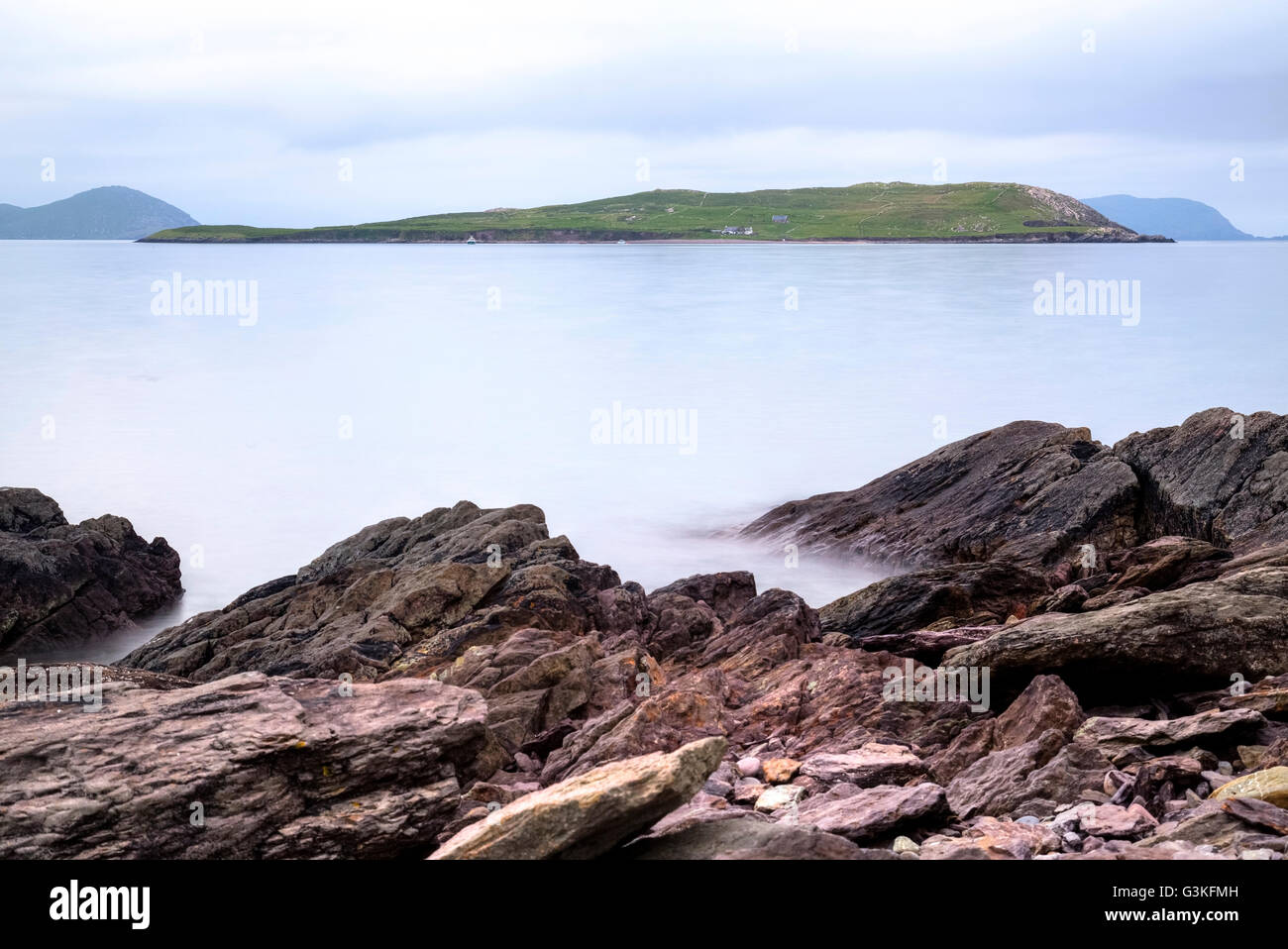 Ballingskelligs Bay, Horse Island, Baile an Sceilg, Iveragh peninsula, County Kerry, Ireland, Europe - Stock Image