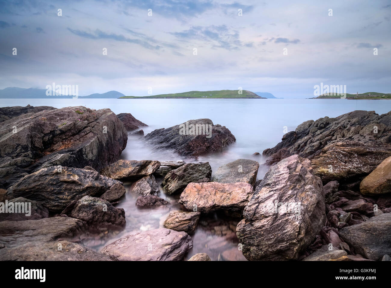 Ballingskelligs Bay, Horse Island, Baile an Sceilg, Iveragh peninsula, County Kerry, Ireland, Europe Stock Photo