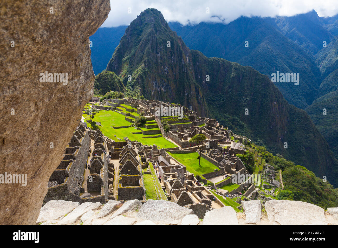 Overview of the Machu Picchu settlement in the Andes Mountains of Peru - Stock Image