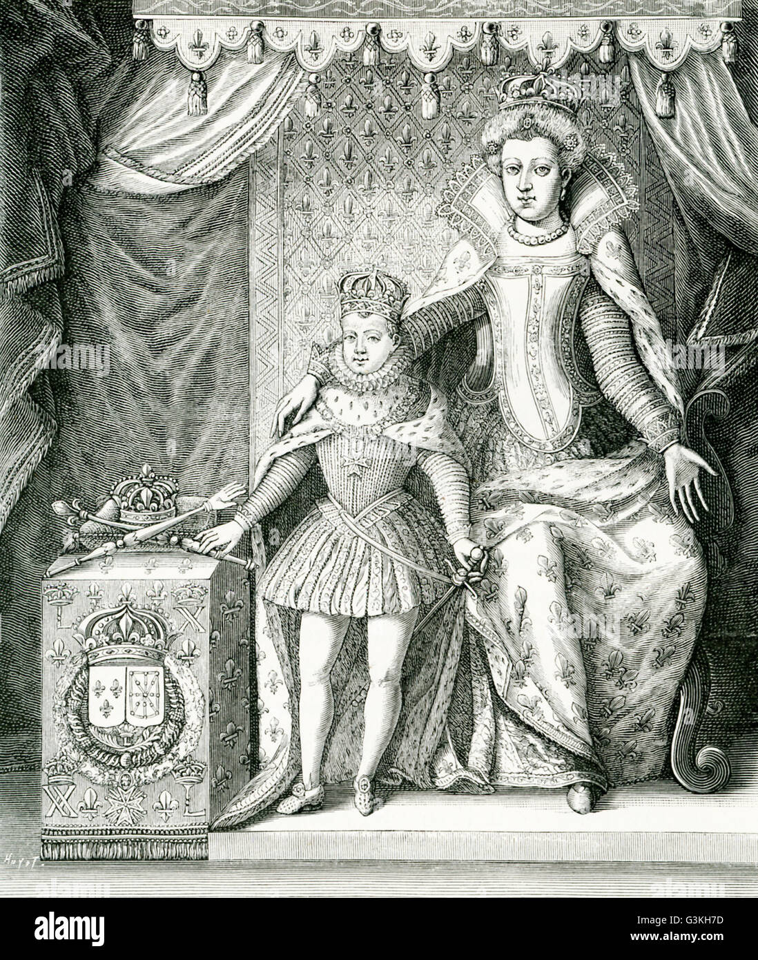 The caption for this engraving reads: Marie de Medicis, the regent and her son, Louis XIII of France. The image - Stock Image